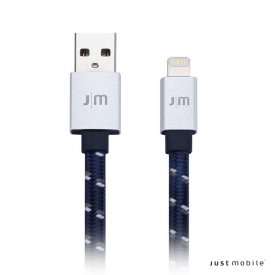 Just Mobile AluCable Flat Braided - Lightning USB kábel 1.2 m - ezüst / kék