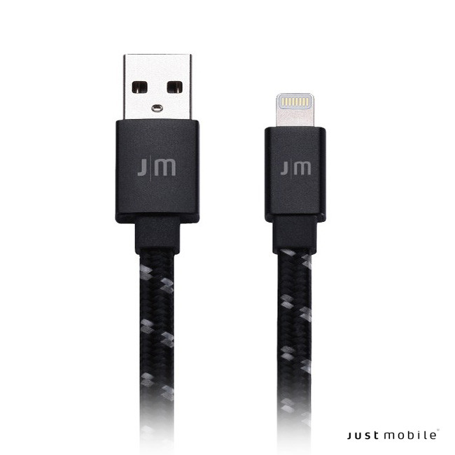 Just Mobile AluCable Flat Braided - Lightning USB kábel 1.2 m - fekete