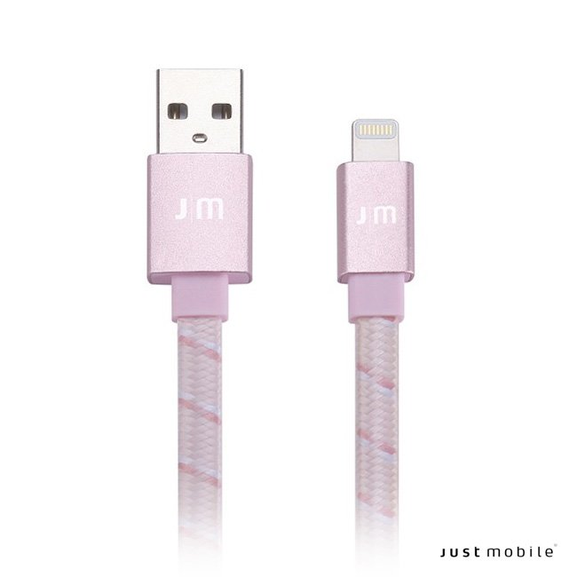 Just Mobile AluCable Flat Braided - Lightning USB kábel 1.2 m - rozéarany