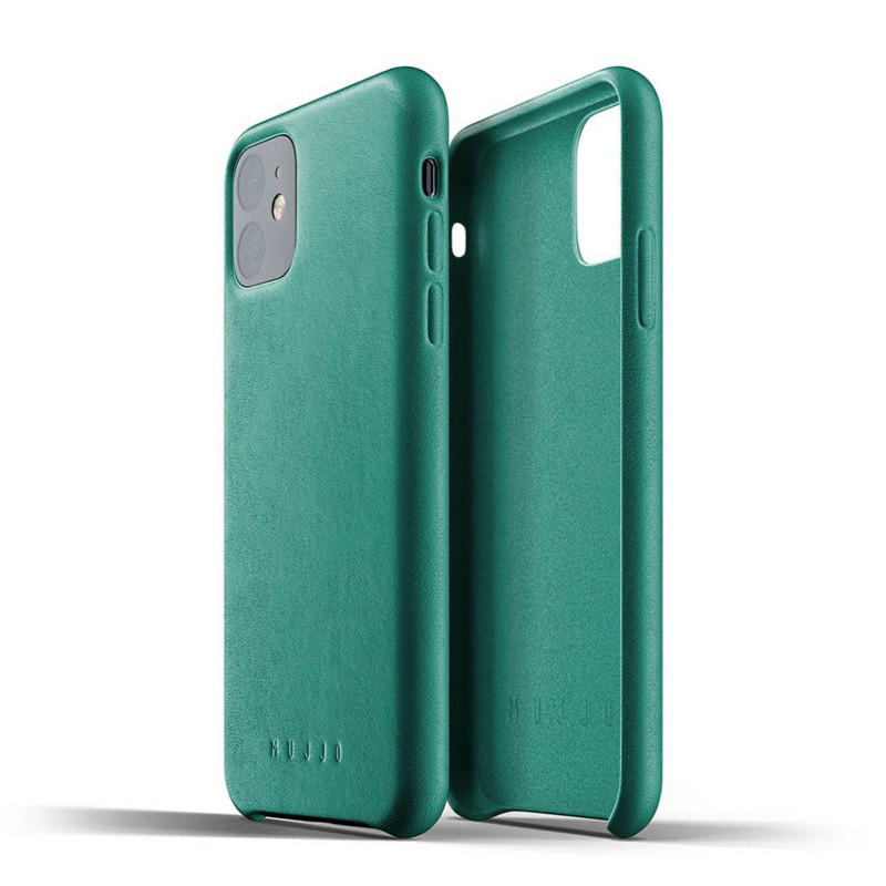 Mujjo Leather Slim - iPhone 11 valódi bőr tok - alpine zöld