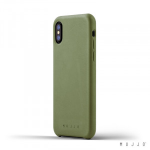 Mujjo Leather Slim - iPhone XS / X valódi bőr tok - olivazöld