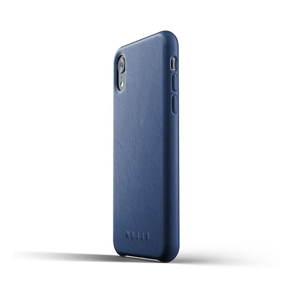 Mujjo Leather Slim - iPhone XR valódi bőr tok - kék