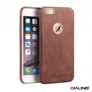 Qialino Calf Skin Leather - iPhone 6 Plus / 6S Plus bőrtok - barna