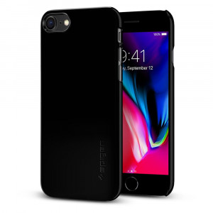 Spigen Thin Fit Jet Black - iPhone 8 / iPhone 7 tok - fekete / fényes