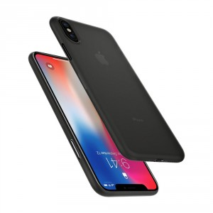 Spigen Air Skin 0.4 mm - iPhone XS / X ultravékony tok - áttetsző / fekete
