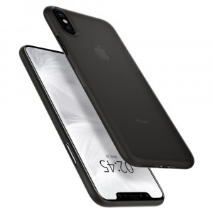 Spigen Air Skin 0.4 mm - iPhone XS Max ultravékony tok - áttetsző / fekete