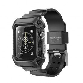 Supcase Unicorn Beetle Pro - Apple Watch 1/2/3 (42mm) extrém szíj és védőkeret - fekete
