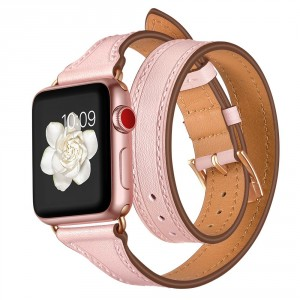 Tech-Pro LongCharm- Apple Watch 1/2/3/4/5 (38/40 mm) bőrszíj - pink / arany