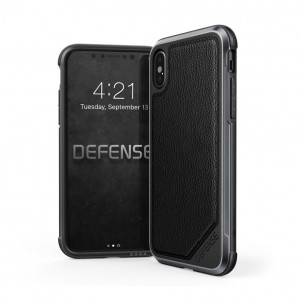 X-Doria Defense Lux Leather - iPhone XS / X ütésálló tok - bőr / fekete