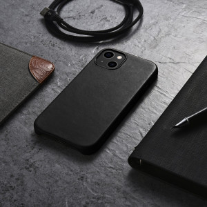 iCarer Leather Crazy Horse - iPhone 13 bőr tok - fekete
