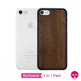 Ozaki O!coat 0.3 +Wood + Jelly 2pk - iPhone 8  / iPhone 7 dupla tok - ebony és áttetsző